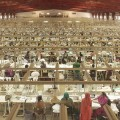 A view from a top window looking down on the workers at the India Designs garment factory-900450PC Massa