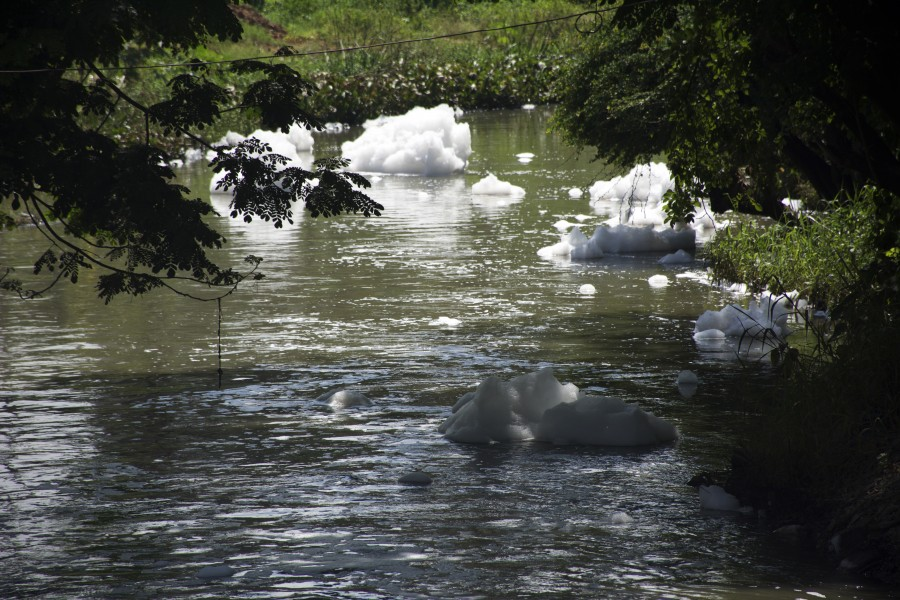 Bits of foam break off from the mass and continue down the waterway. (Photo: Kelly Zegers)