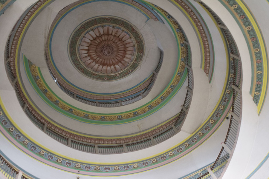 The interiors of the Vidhana Soudha's many domes are beautifully painted. The Vidhana Soudha houses the legislature of the state of Karnataka. (Photo: Diana Lopez)