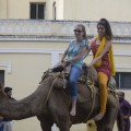 Alicia Bermudez and Diana Lopez enjoy a camel ride. (Photo: Rick Ricioppo)
