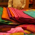 Fabrics for sale on Commercial Street, Bangalore's shopping hub (Photo: Krysten Massa)