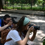 Marvin Fuentes and Krysten Massa get some low shots of plants in Cubbon Park. (Photo: Diana Lopez)