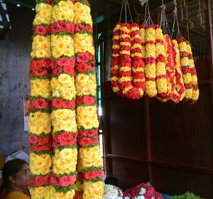 Flower garlands in Malleswaram