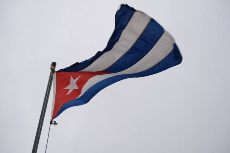 Cuba's flag flies as high as its ambition. Photo by Janelle Clausen.