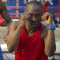 Coach Nardo Mestre Flores, 64,  demonstrates appropriate technique. Photo by Alexa Coveney.
