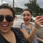 Abby and Alexa enjoy a ride in a taxi convertible. Photo by Abby Del Vecchio.