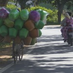 A bicyclist transports colorful pots. (Photo: Rick Ricioppo)