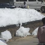Foam spills into the road. (Photo: Kelly Zegers)