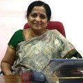 Justice Indrakala sitting behind her desk in her office. (Photo: Kevin Matyi)