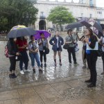 The group didn't want to waste a single minute, which led to quite a few activities being done in the rain. Photo by Rick Ricioppo.