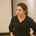 Cristina Escobar speaks with students about the unique state of journalism in Cuba. Photo Credit: Rick Ricioppo.